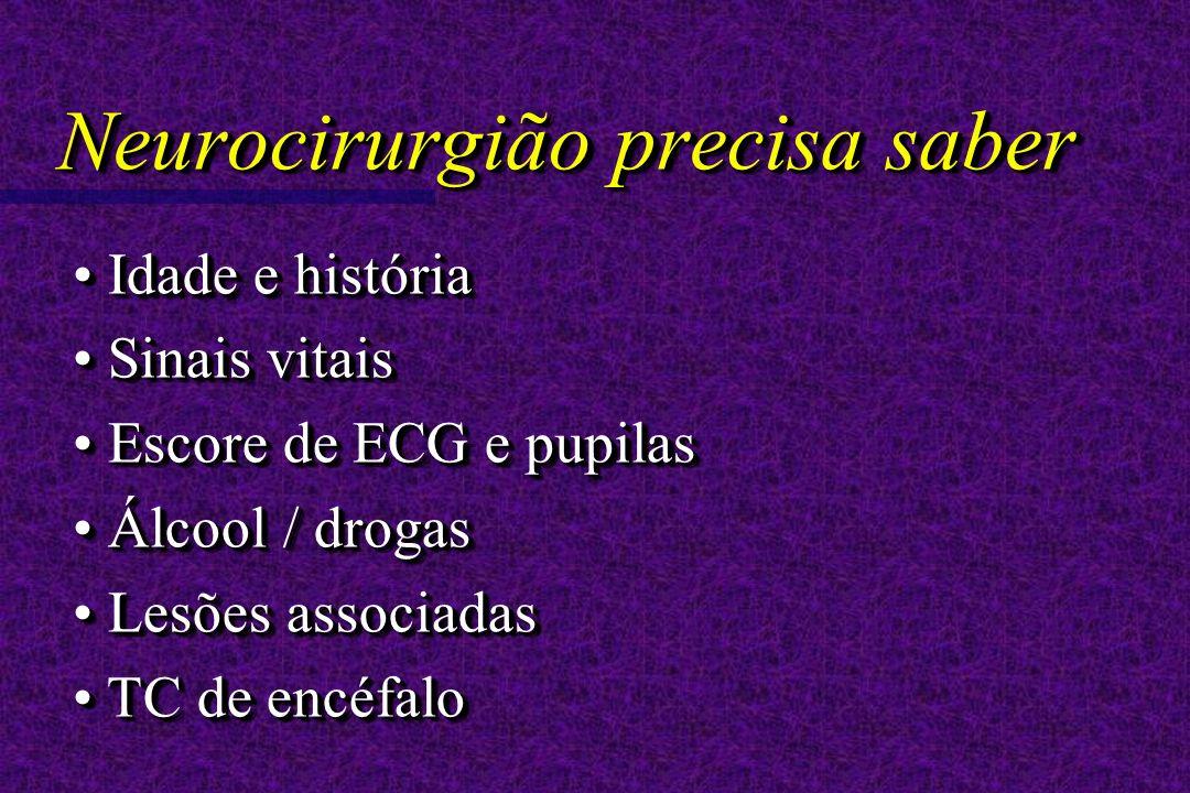 Idade e história Idade e história Sinais vitais Sinais vitais Escore de ECG e pupilas Escore de ECG e pupilas Álcool / drogas Álcool / drogas Lesões a