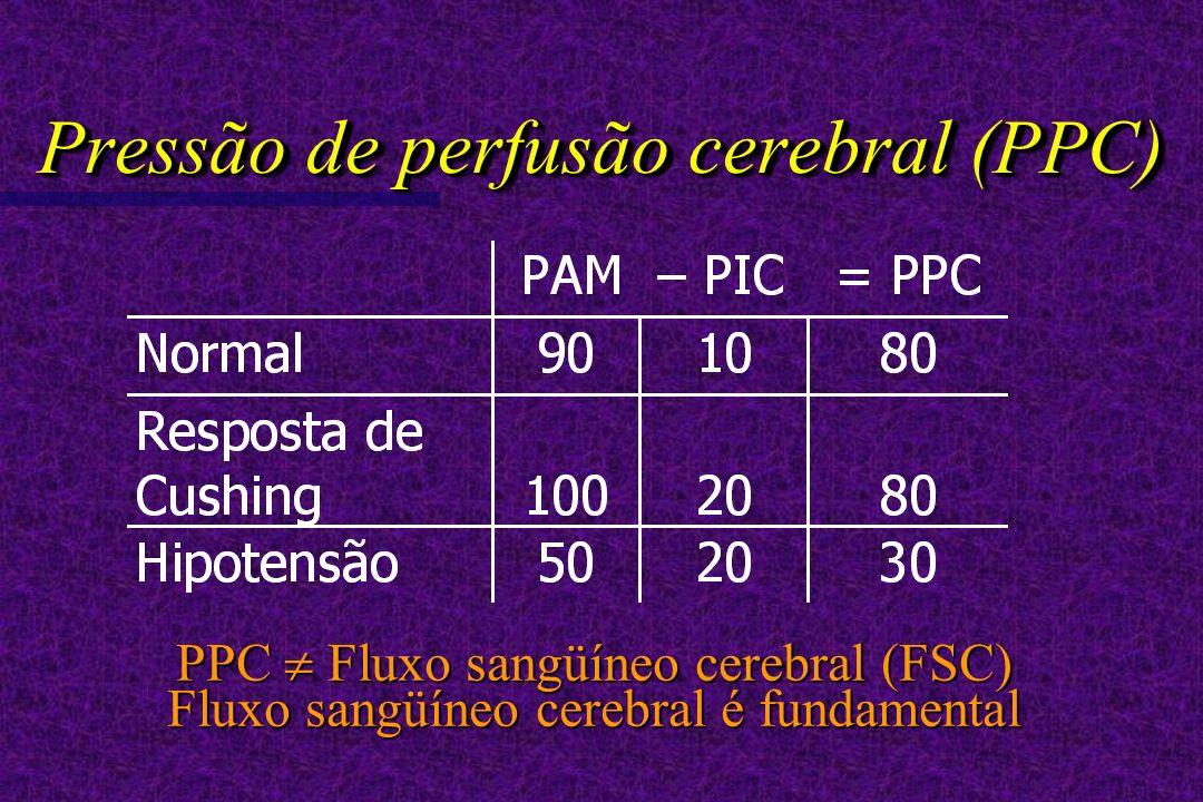 Pressão de perfusão cerebral (PPC) PPC Fluxo sangüíneo cerebral (FSC) Fluxo sangüíneo cerebral é fundamental