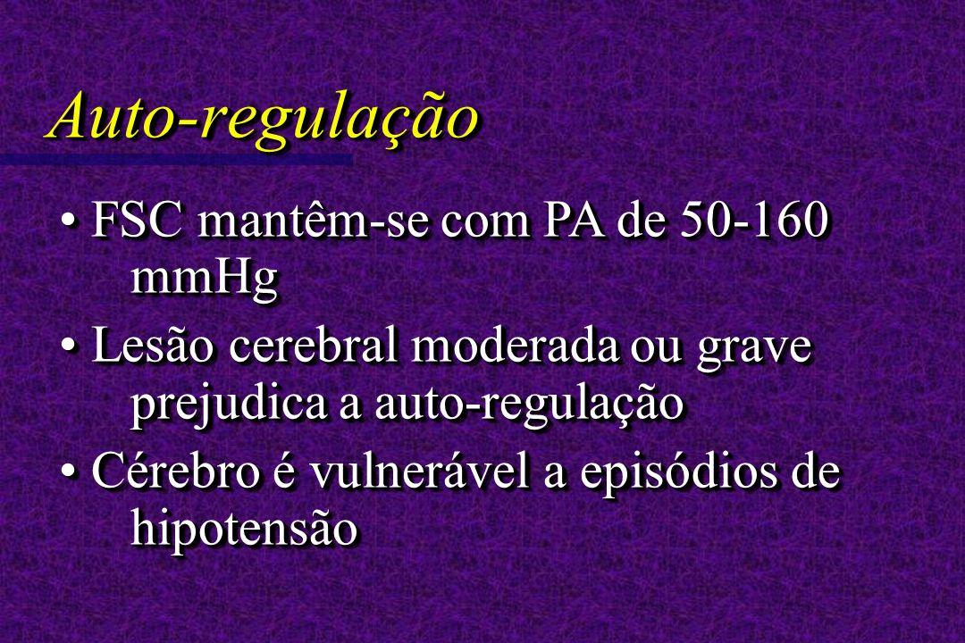 FSC mantêm-se com PA de 50-160 mmHg FSC mantêm-se com PA de 50-160 mmHg Lesão cerebral moderada ou grave prejudica a auto-regulação Lesão cerebral moderada ou grave prejudica a auto-regulação Cérebro é vulnerável a episódios de hipotensão Cérebro é vulnerável a episódios de hipotensão FSC mantêm-se com PA de 50-160 mmHg FSC mantêm-se com PA de 50-160 mmHg Lesão cerebral moderada ou grave prejudica a auto-regulação Lesão cerebral moderada ou grave prejudica a auto-regulação Cérebro é vulnerável a episódios de hipotensão Cérebro é vulnerável a episódios de hipotensão Auto-regulaçãoAuto-regulação