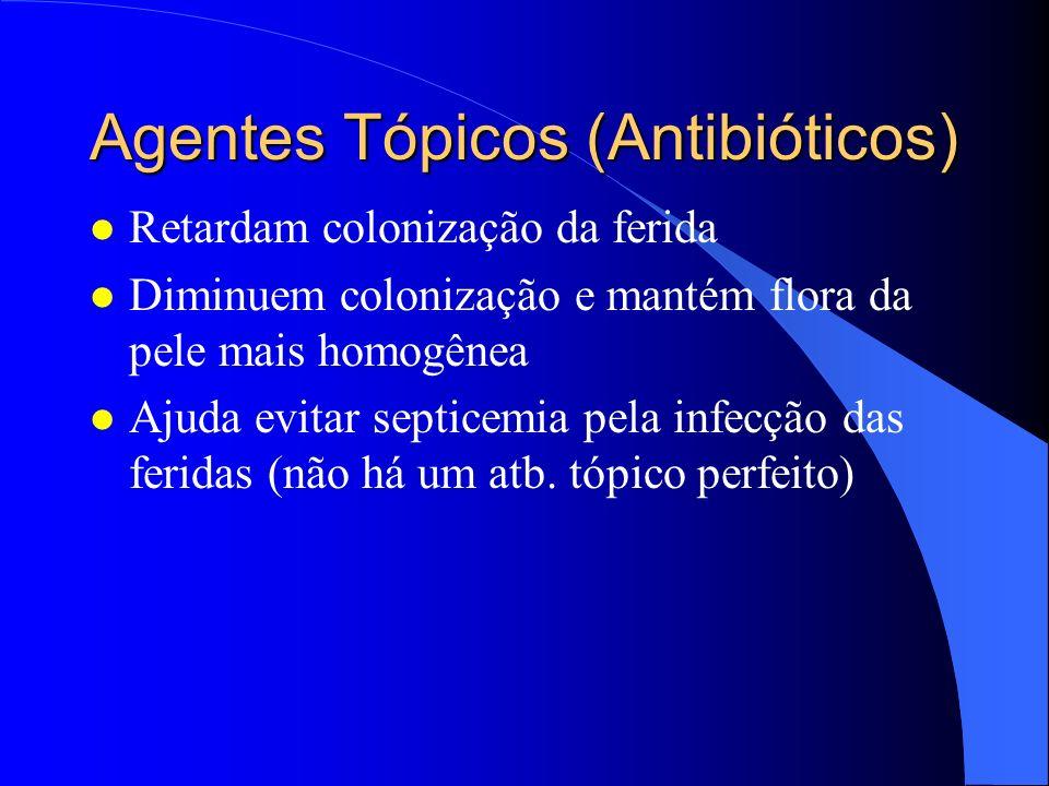 Agentes Tópicos (Antibióticos) l Retardam colonização da ferida l Diminuem colonização e mantém flora da pele mais homogênea l Ajuda evitar septicemia