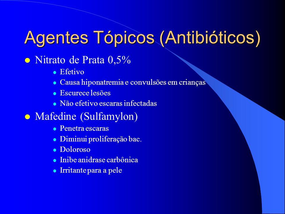 Agentes Tópicos (Antibióticos) l Nitrato de Prata 0,5% l Efetivo l Causa hiponatremia e convulsões em crianças l Escurece lesões l Não efetivo escaras