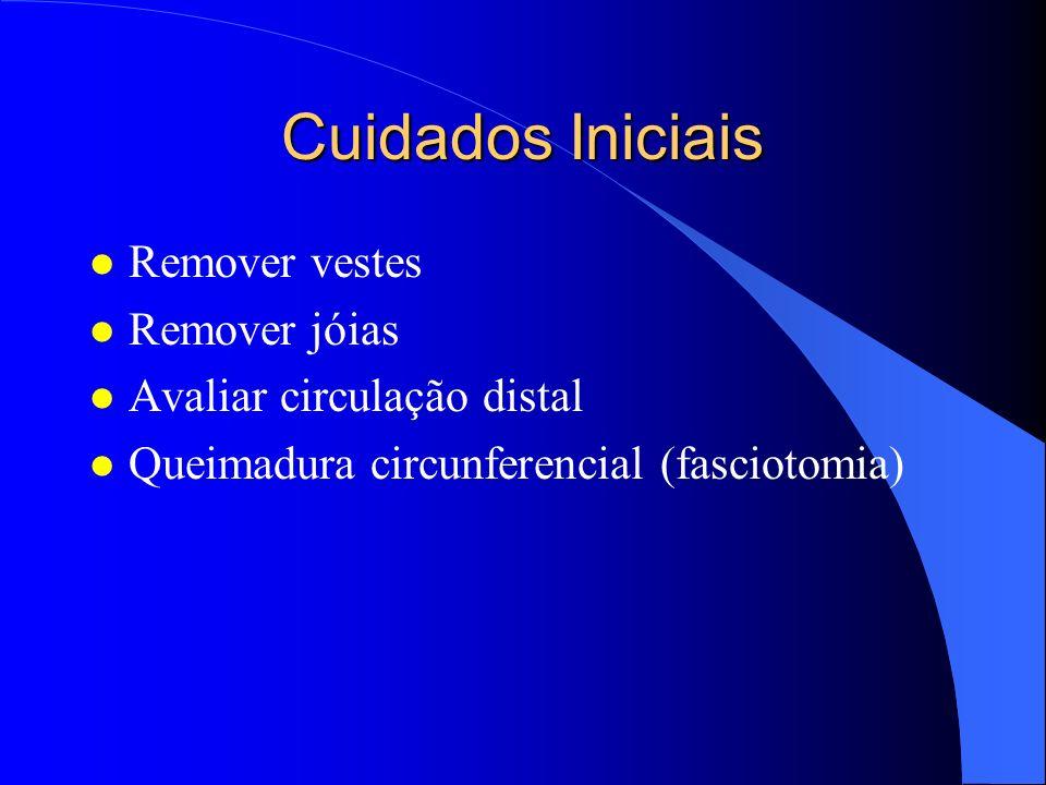 Cuidados Iniciais l Remover vestes l Remover jóias l Avaliar circulação distal l Queimadura circunferencial (fasciotomia)