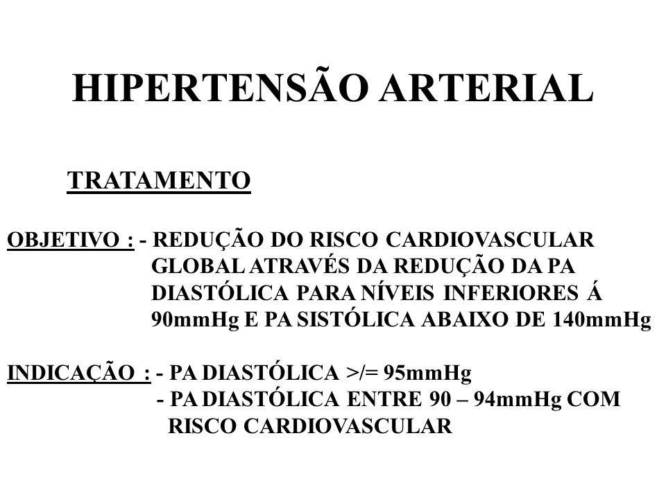 HIPERTENSÃO ARTERIAL TRATAMENTO NÃO FARMACOLÓGICO : - RESTRIÇÃO DE SAL - REDUÇÃO DO PESO - RESTRIÇÃO DE COLESTEROL - REDUZIR ALCOOL - ABANDONO DO TABAGISMO - RESTRIÇÃO DE CAFEÍNA - EXERCÍCIO FÍSICO - AUMENTO DE POTÁSSIO E CÁLCIO NA DIETA - RELAXAMENTO E REDUÇÃO DO STRESS