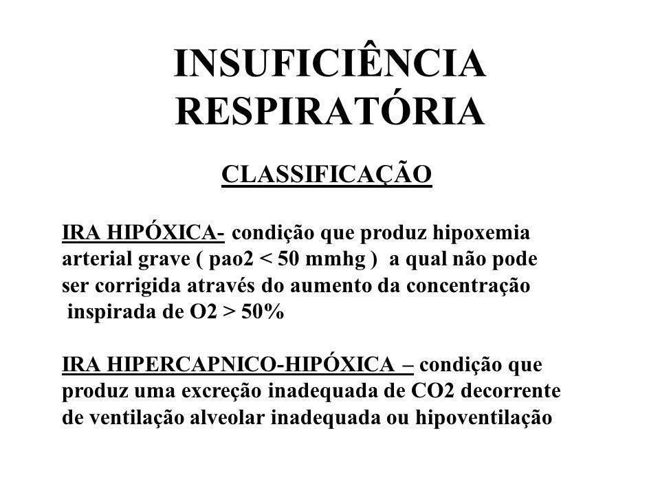 INSUFICIÊNCIA RESPIRATÓRIA CLASSIFICAÇÃO IRA HIPÓXICA- condição que produz hipoxemia arterial grave ( pao2 < 50 mmhg ) a qual não pode ser corrigida a