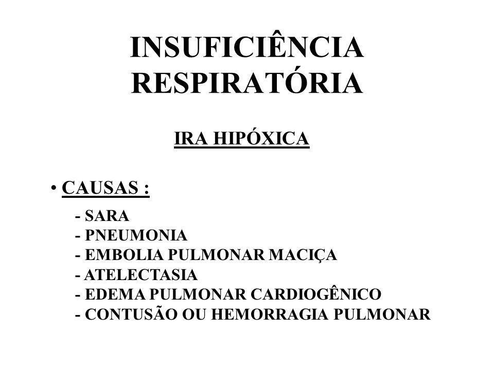 INSUFICIÊNCIA RESPIRATÓRIA IRA HIPÓXICA CAUSAS : - SARA - PNEUMONIA - EMBOLIA PULMONAR MACIÇA - ATELECTASIA - EDEMA PULMONAR CARDIOGÊNICO - CONTUSÃO O