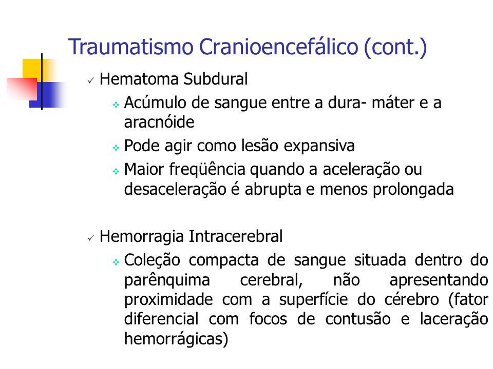 Hematoma Subdural Acúmulo de sangue entre a dura- máter e a aracnóide Pode agir como lesão expansiva Maior freqüência quando a aceleração ou desaceler