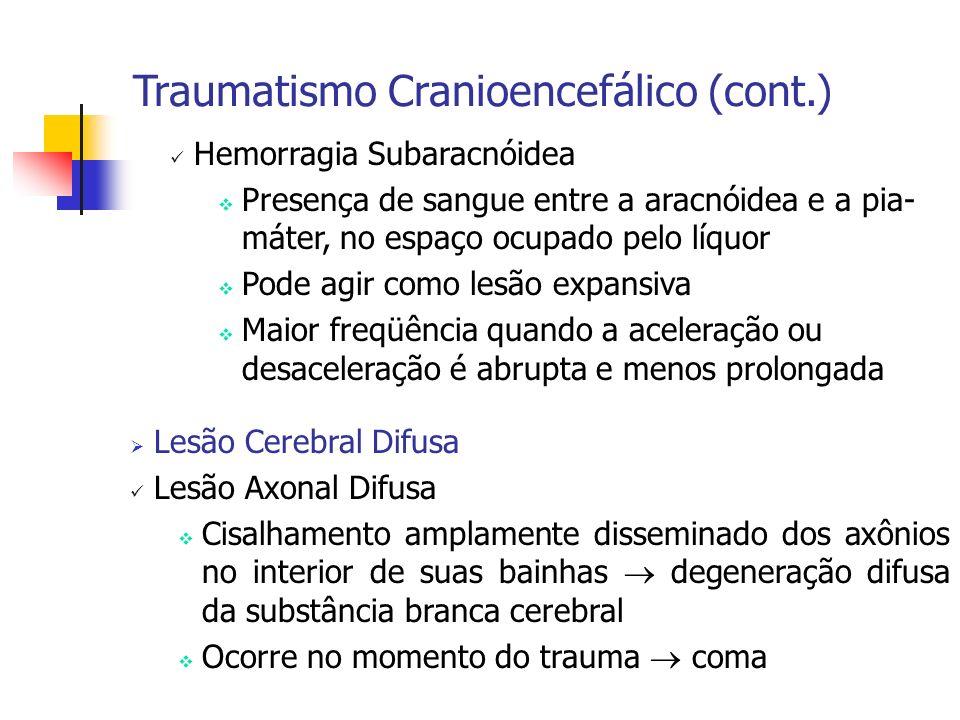 Hemorragia Subaracnóidea Presença de sangue entre a aracnóidea e a pia- máter, no espaço ocupado pelo líquor Pode agir como lesão expansiva Maior freq