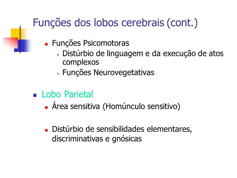 Funções dos lobos cerebrais (cont.) Funções Psicomotoras Distúrbio de linguagem e da execução de atos complexos Funções Neurovegetativas Lobo Parietal