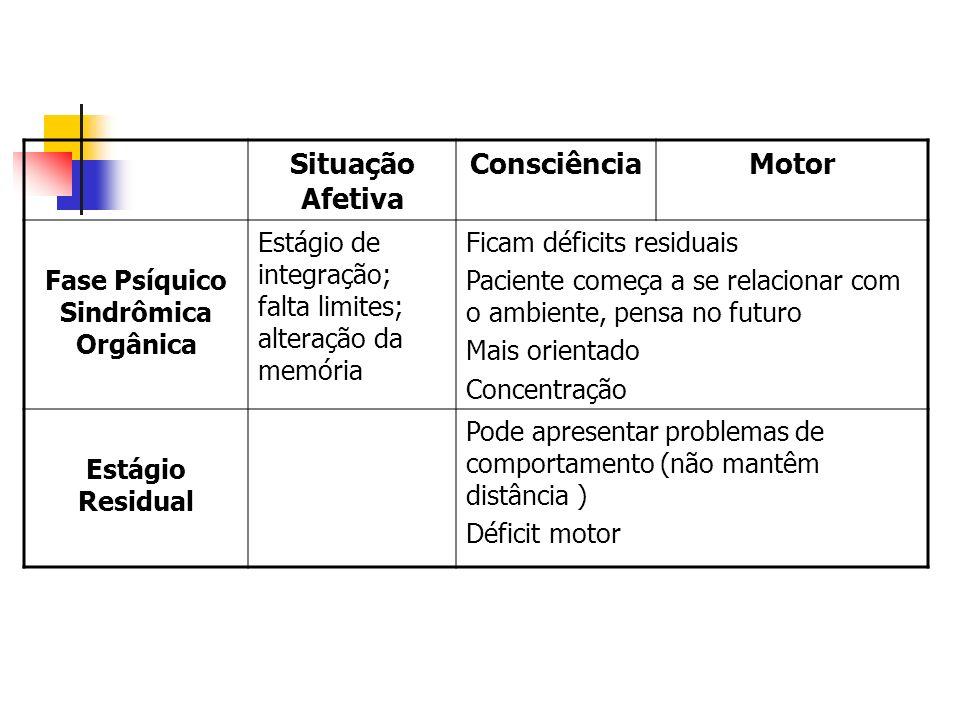 Situação Afetiva ConsciênciaMotor Fase Psíquico Sindrômica Orgânica Estágio de integração; falta limites; alteração da memória Ficam déficits residuai
