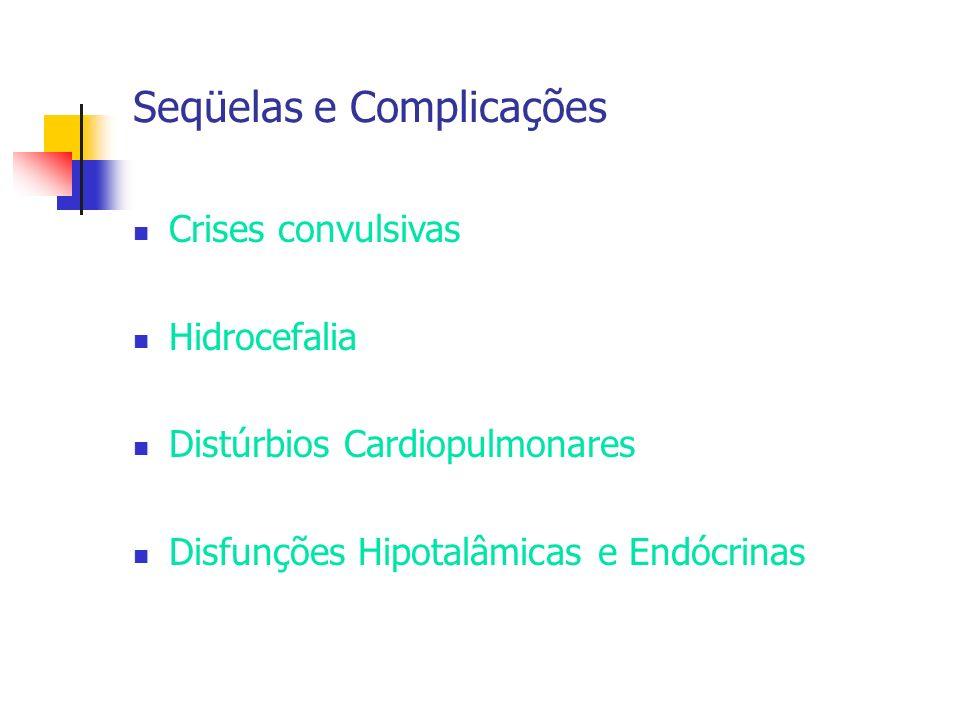 Seqüelas e Complicações Crises convulsivas Hidrocefalia Distúrbios Cardiopulmonares Disfunções Hipotalâmicas e Endócrinas