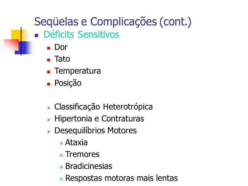 Déficits Sensitivos Dor Tato Temperatura Posição Classificação Heterotrópica Hipertonia e Contraturas Desequilíbrios Motores Ataxia Tremores Bradicine