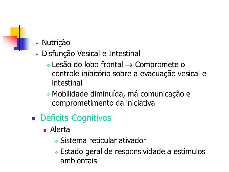 Nutrição Disfunção Vesical e Intestinal Lesão do lobo frontal Compromete o controle inibitório sobre a evacuação vesical e intestinal Mobilidade dimin