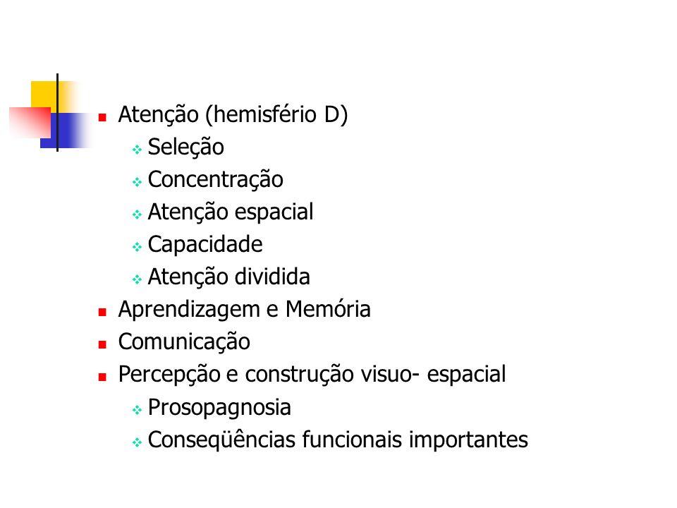 Atenção (hemisfério D) Seleção Concentração Atenção espacial Capacidade Atenção dividida Aprendizagem e Memória Comunicação Percepção e construção vis