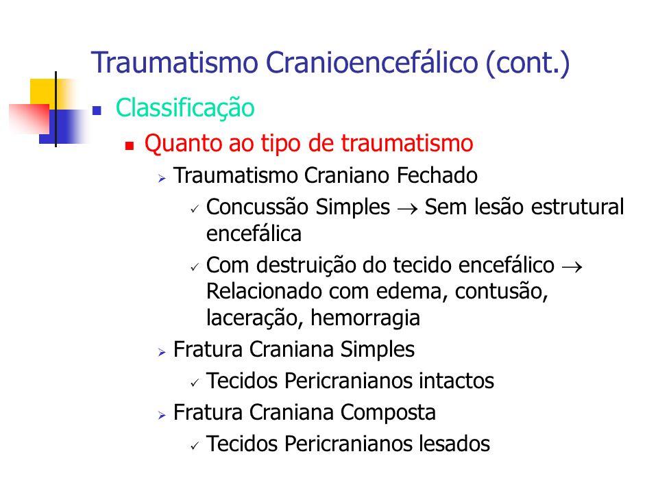 Traumatismo Cranioencefálico (cont.) Classificação Quanto ao tipo de traumatismo Traumatismo Craniano Fechado Concussão Simples Sem lesão estrutural e