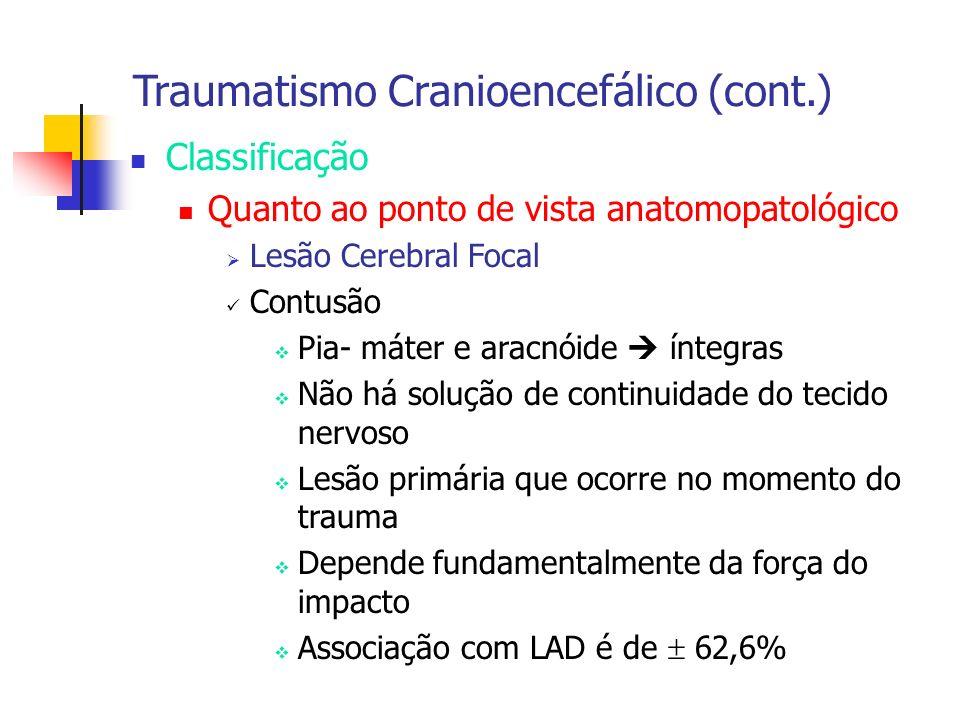Traumatismo Cranioencefálico (cont.) Classificação Quanto ao ponto de vista anatomopatológico Lesão Cerebral Focal Contusão Pia- máter e aracnóide ínt