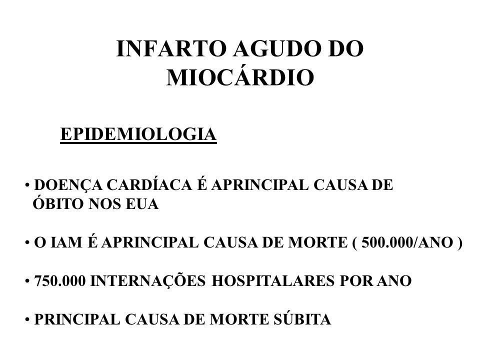 INFARTO AGUDO DO MIOCÁRDIO EPIDEMIOLOGIA DOENÇA CARDÍACA É APRINCIPAL CAUSA DE ÓBITO NOS EUA O IAM É APRINCIPAL CAUSA DE MORTE ( 500.000/ANO ) 750.000