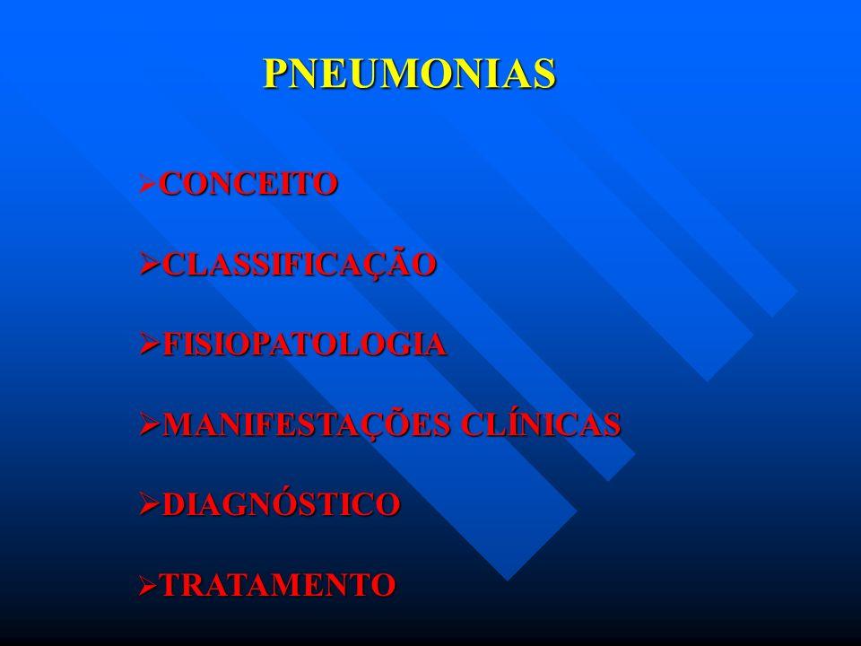 PNEUMONIAS CONCEITO INFLAMAÇÃO DA PORÇÃO DISTAL DO PULMÃO - VIAS AÉREAS TERMINAIS, ESPAÇO ALVEOLAR E INTERSTÍCIO -