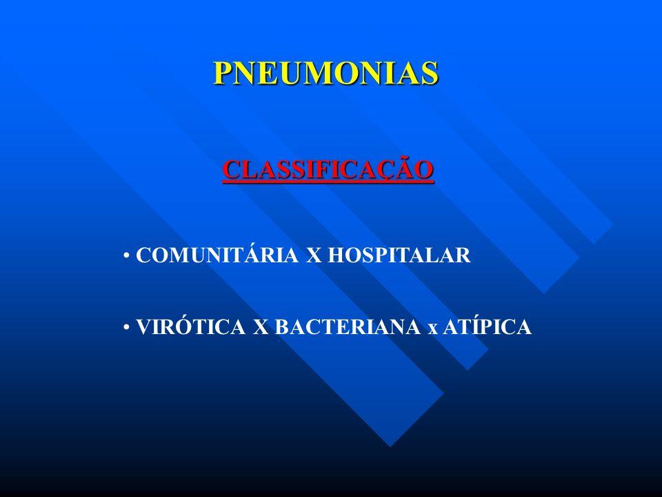 PNEUMONIAS PNEUMONIA HOSPITALAR FATORES DE RISCO COMORBIDADES PNEUMOPATIA AVANÇADA, IDADE ETILISMO E TABAGISMO, DESNUTRIÇÃO, IMUNOSSUPRESSÃO, DISFUNÇÃO NEUROLÓGICA POLITRAUMATISMO E TCE PÓS OPERATÓRIO DE CIRURGIA TÓRACO ABDOMINAL SNG E SNE DECÚBITO DORSAL Á ZERO GRAU VENTILAÇÃO MECÂNICA DROGAS - CORTICÓIDE, QUIMIOTERÁPICO BLOQUEADOR H2 ANTIBIOTICOTERAPIA PRÉVIA