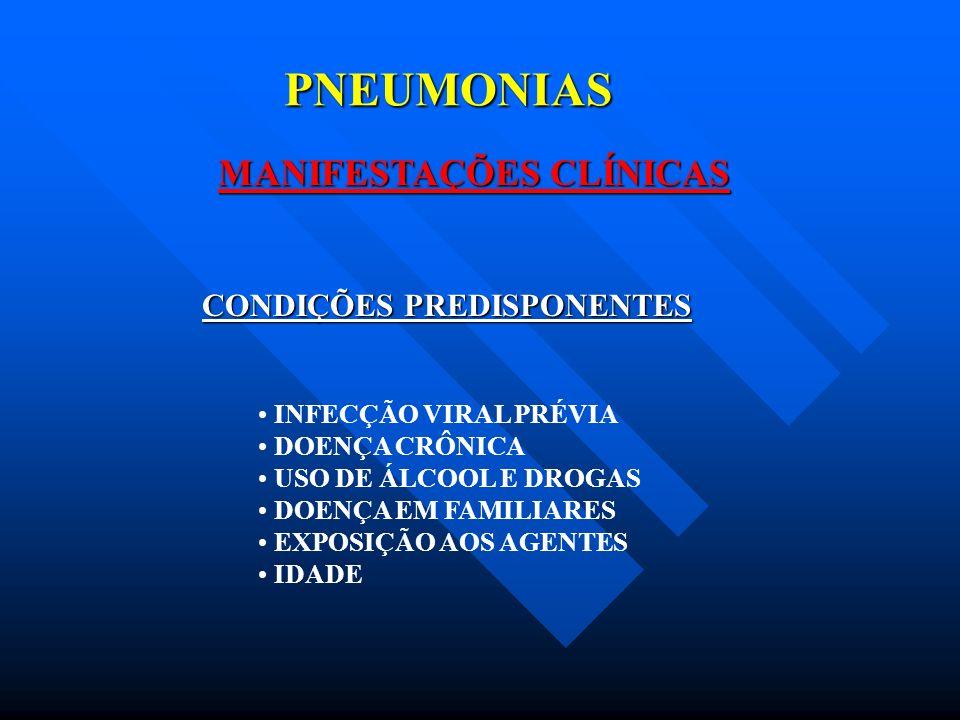 PNEUMONIAS MANIFESTAÇÕES CLÍNICAS TOSSE FEBRE DOR PLEURÍTICA ESCARRO PURULENTO