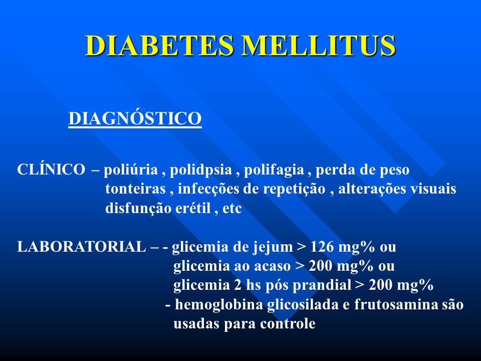 DIABETES MELLITUS DIAGNÓSTICO CLÍNICO – poliúria, polidpsia, polifagia, perda de peso tonteiras, infecções de repetição, alterações visuais disfunção