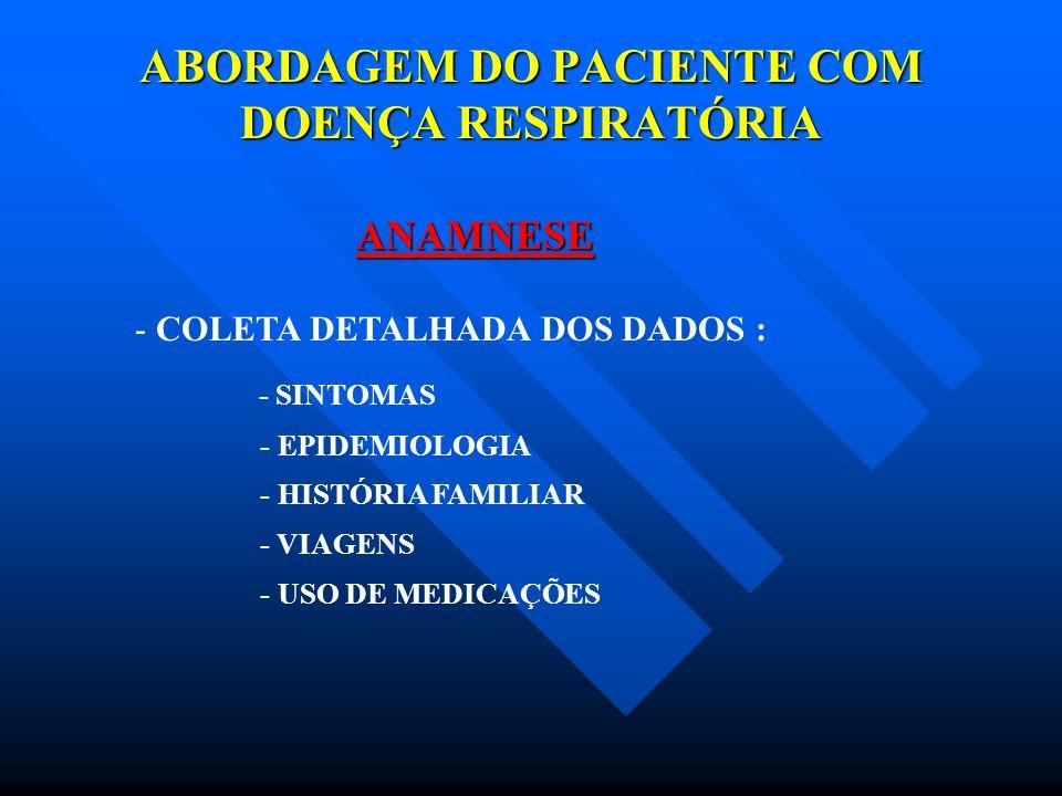 ABORDAGEM DO PACIENTE COM DOENÇA RESPIRATÓRIA ANAMNESE - COLETA DETALHADA DOS DADOS : - SINTOMAS - EPIDEMIOLOGIA - HISTÓRIA FAMILIAR - VIAGENS - USO D