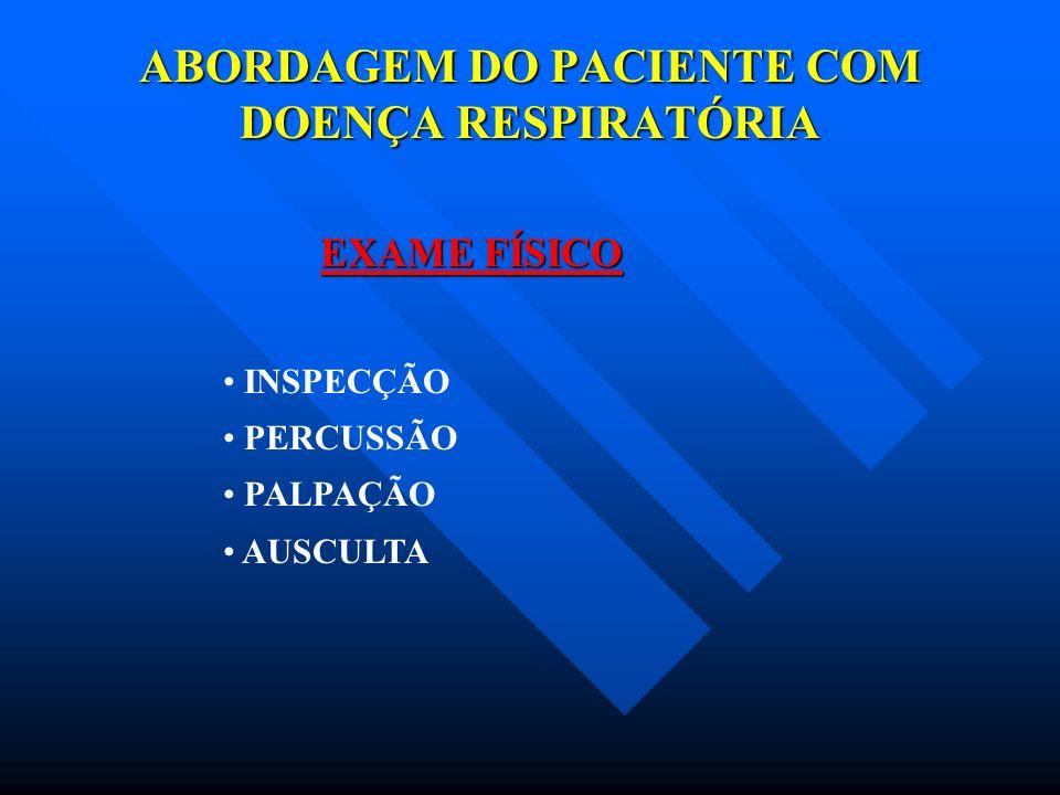 ABORDAGEM DO PACIENTE COM DOENÇA RESPIRATÓRIA EXAMES COMPLEMENTARES RADIOGRAFIA DE TÓRAX TOMOGRAFIA RESSONÂNCIA MAGNÉTICA GASOMETRIA ARTERIAL PROVAS DE FUNÇÃO PULMONAR BRONCOSCOPIA PUNÇÃO PLEURAL BIÓPSIA PULMONAR PLEUROSCOPIA