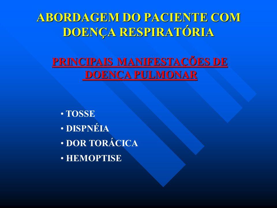 ABORDAGEM DO PACIENTE COM DOENÇA RESPIRATÓRIA PRINCIPAIS MANIFESTAÇÕES DE DOENÇA PULMONAR DOENÇA PULMONAR PRODUTIVA NÃO PRODUTIVA TRANSITÓRIA PERSISTENTE TOSSE TIPOS DE TOSSE
