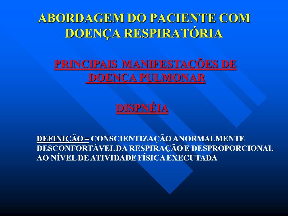 ABORDAGEM DO PACIENTE COM DOENÇA RESPIRATÓRIA PRINCIPAIS MANIFESTAÇÕES DE DOENÇA PULMONAR DOENÇA PULMONAR DISPNÉIA CAUSAS : ATMOSFÉRICAS OBSTRUTIVAS PARENQUIMATOSAS TORÁCICA DIAFRAGMÁTICAS CARDÍACAS LIGADAS AO SN ( neurológica e psicogênica )
