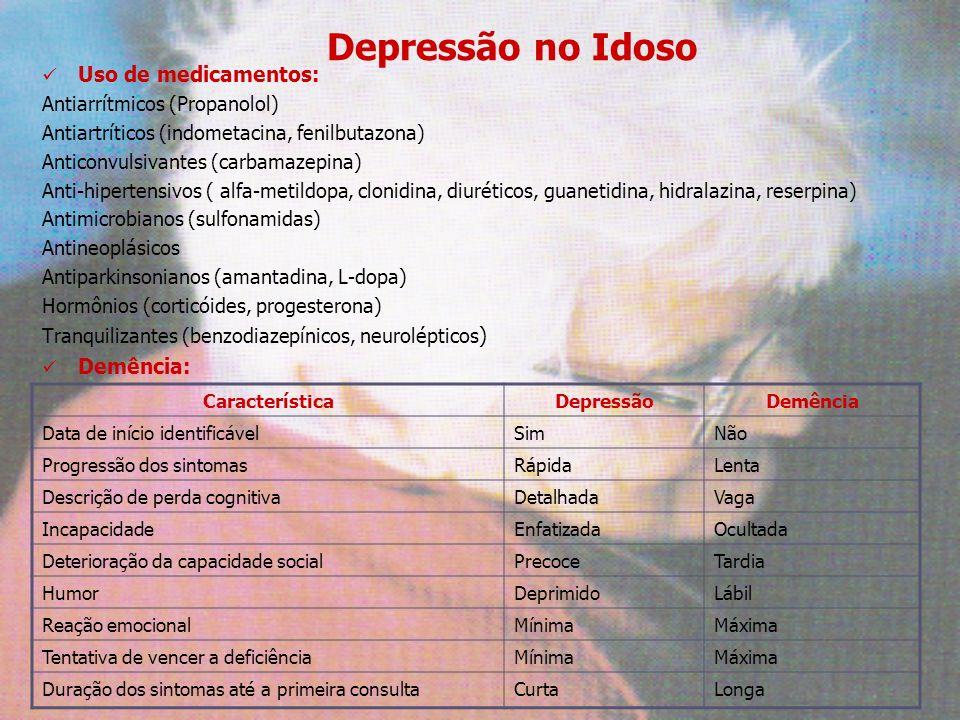 Depressão no Idoso Uso de medicamentos: Antiarrítmicos (Propanolol) Antiartríticos (indometacina, fenilbutazona) Anticonvulsivantes (carbamazepina) An