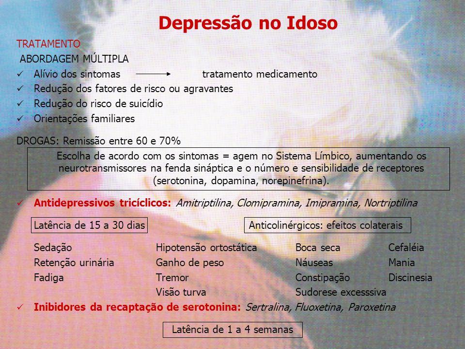 Depressão no Idoso TRATAMENTO ABORDAGEM MÚLTIPLA Alívio dos sintomastratamento medicamento Redução dos fatores de risco ou agravantes Redução do risco