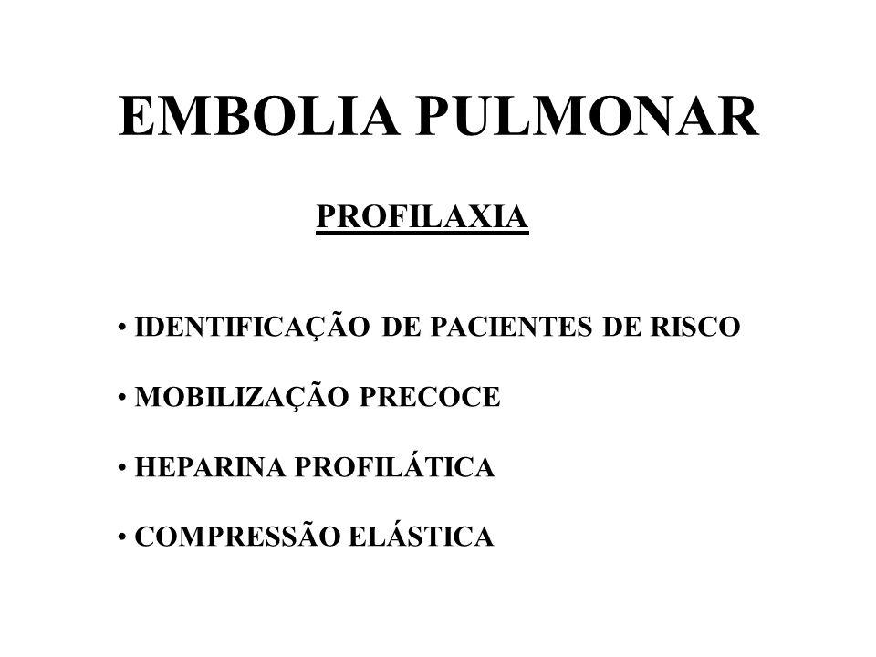EMBOLIA PULMONAR PROFILAXIA IDENTIFICAÇÃO DE PACIENTES DE RISCO MOBILIZAÇÃO PRECOCE HEPARINA PROFILÁTICA COMPRESSÃO ELÁSTICA