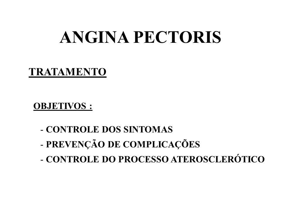 ANGINA PECTORIS TRATAMENTO OBJETIVOS : - CONTROLE DOS SINTOMAS - PREVENÇÃO DE COMPLICAÇÕES - CONTROLE DO PROCESSO ATEROSCLERÓTICO