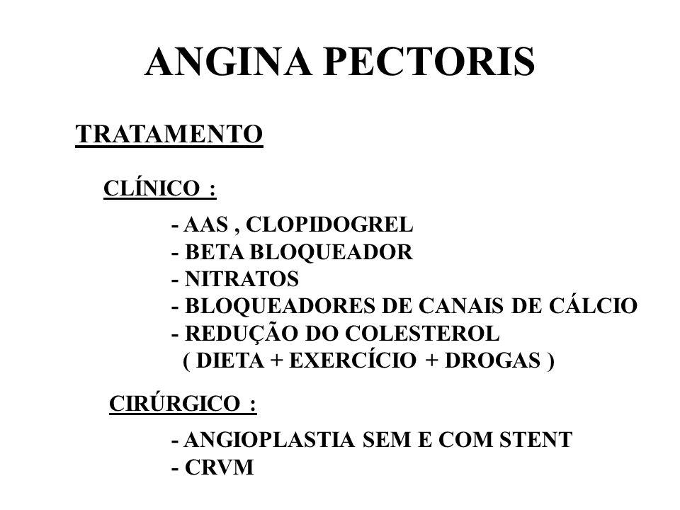 ANGINA PECTORIS TRATAMENTO CLÍNICO : - AAS, CLOPIDOGREL - BETA BLOQUEADOR - NITRATOS - BLOQUEADORES DE CANAIS DE CÁLCIO - REDUÇÃO DO COLESTEROL ( DIET