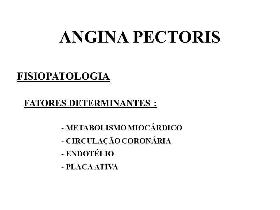 ANGINA PECTORIS FISIOPATOLOGIA FATORES DETERMINANTES : - METABOLISMO MIOCÁRDICO - CIRCULAÇÃO CORONÁRIA - ENDOTÉLIO - PLACA ATIVA