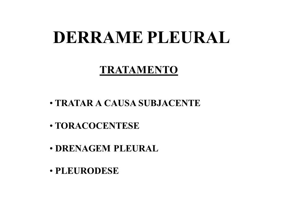 DERRAME PLEURAL TRATAMENTO TRATAR A CAUSA SUBJACENTE TORACOCENTESE DRENAGEM PLEURAL PLEURODESE