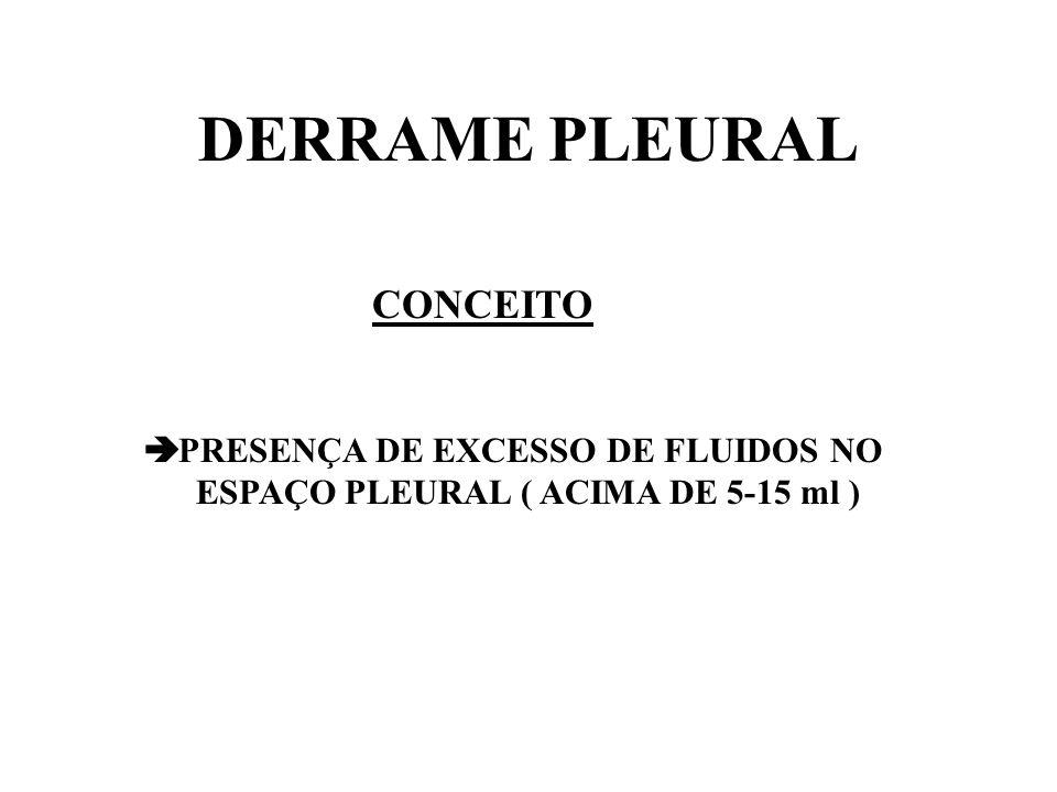 DERRAME PLEURAL FISIOPATOLOGIA PLEURA PARIETAL ( 0,1 ml/Kg/min ) LÍQUIDO PLEURAL PLEURA VISCERAL + LINFÁTICOS ( 20 X MAIOR )