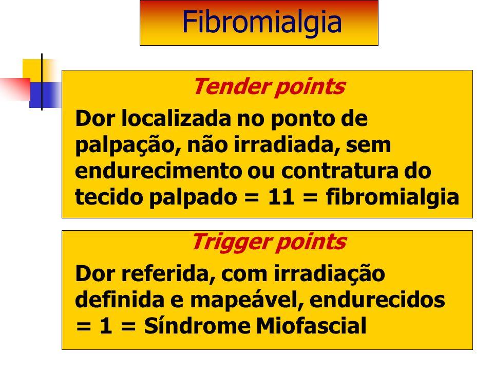 Tender points Dor localizada no ponto de palpação, não irradiada, sem endurecimento ou contratura do tecido palpado = 11 = fibromialgia Trigger points