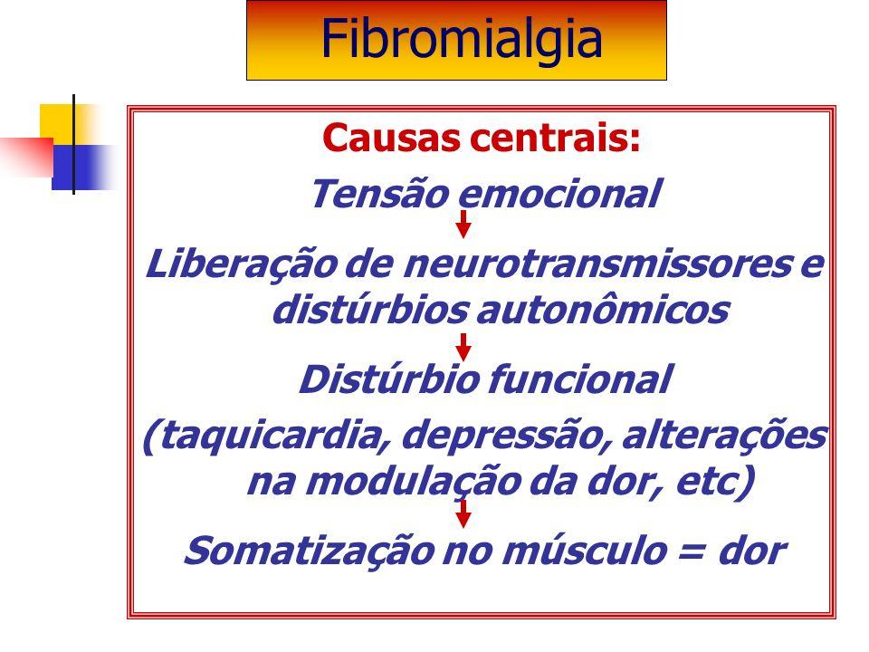 Causas centrais: Tensão emocional Liberação de neurotransmissores e distúrbios autonômicos Distúrbio funcional (taquicardia, depressão, alterações na