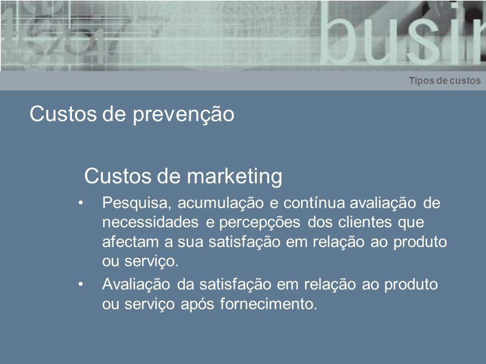 Custos de prevenção Custos de marketing Pesquisa, acumulação e contínua avaliação de necessidades e percepções dos clientes que afectam a sua satisfaç