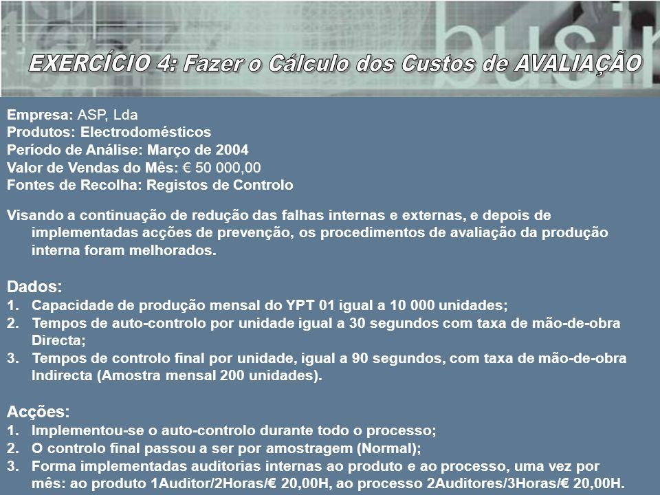Empresa: ASP, Lda Produtos: Electrodomésticos Período de Análise: Março de 2004 Valor de Vendas do Mês: 50 000,00 Fontes de Recolha: Registos de Contr