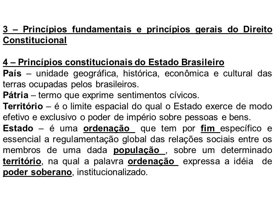3 – Princípios fundamentais e princípios gerais do Direito Constitucional 4 – Princípios constitucionais do Estado Brasileiro País – unidade geográfic