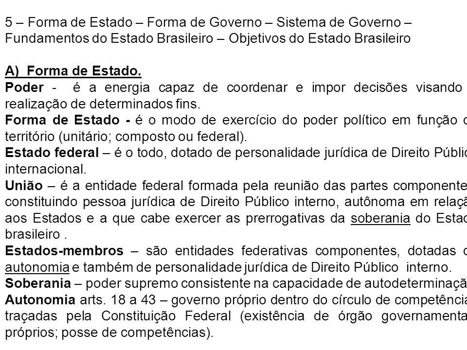 5 – Forma de Estado – Forma de Governo – Sistema de Governo – Fundamentos do Estado Brasileiro – Objetivos do Estado Brasileiro A) Forma de Estado. Po