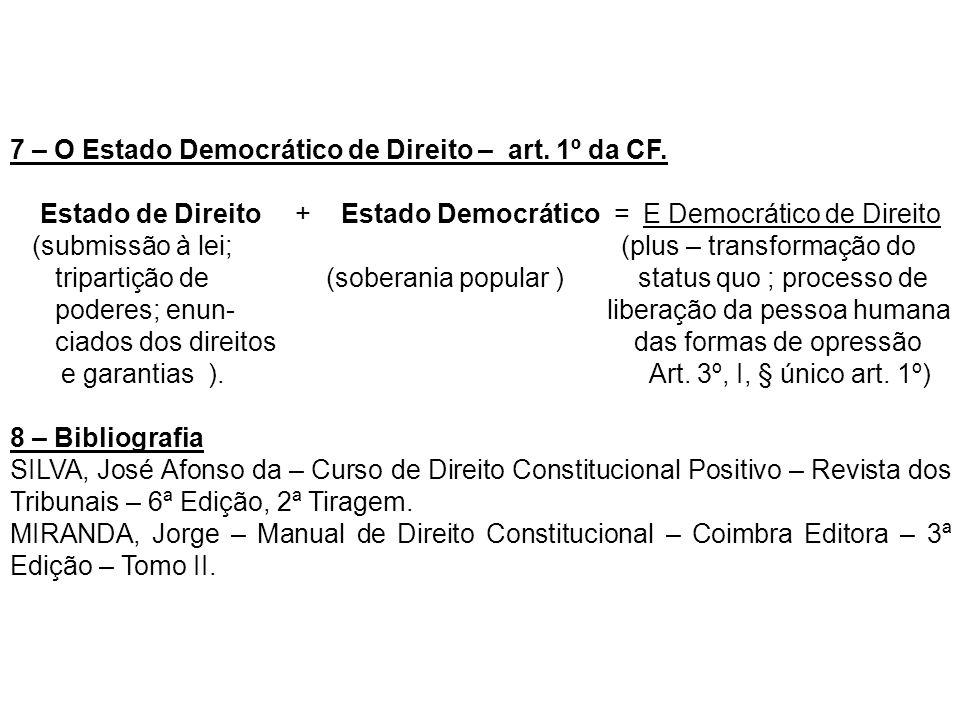 7 – O Estado Democrático de Direito – art. 1º da CF. Estado de Direito + Estado Democrático = E Democrático de Direito (submissão à lei; (plus – trans