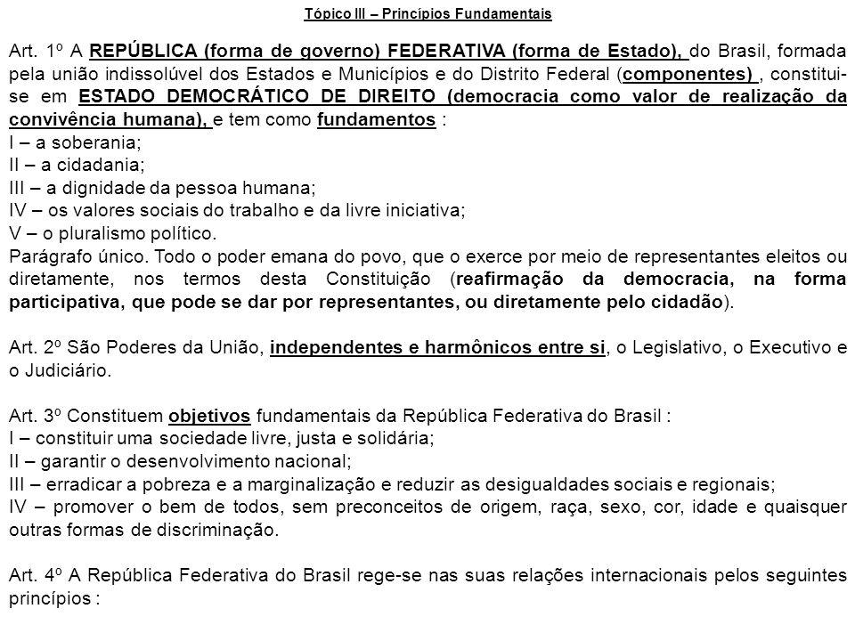 Tópico III – Princípios Fundamentais Art. 1º A REPÚBLICA (forma de governo) FEDERATIVA (forma de Estado), do Brasil, formada pela união indissolúvel d