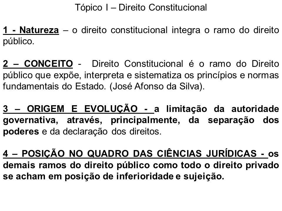 Tópico I – Direito Constitucional 1 - Natureza – o direito constitucional integra o ramo do direito público. 2 – CONCEITO - Direito Constitucional é o