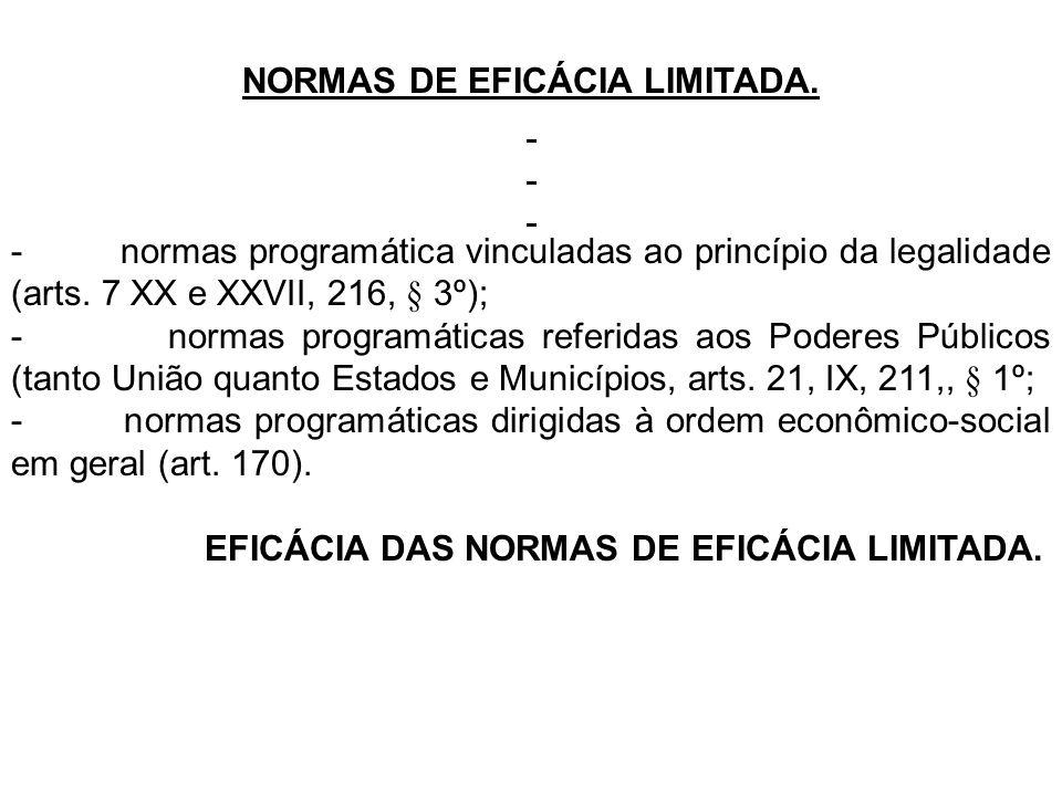 NORMAS DE EFICÁCIA LIMITADA. - normas programática vinculadas ao princípio da legalidade (arts. 7 XX e XXVII, 216, § 3º); - normas programáticas refer