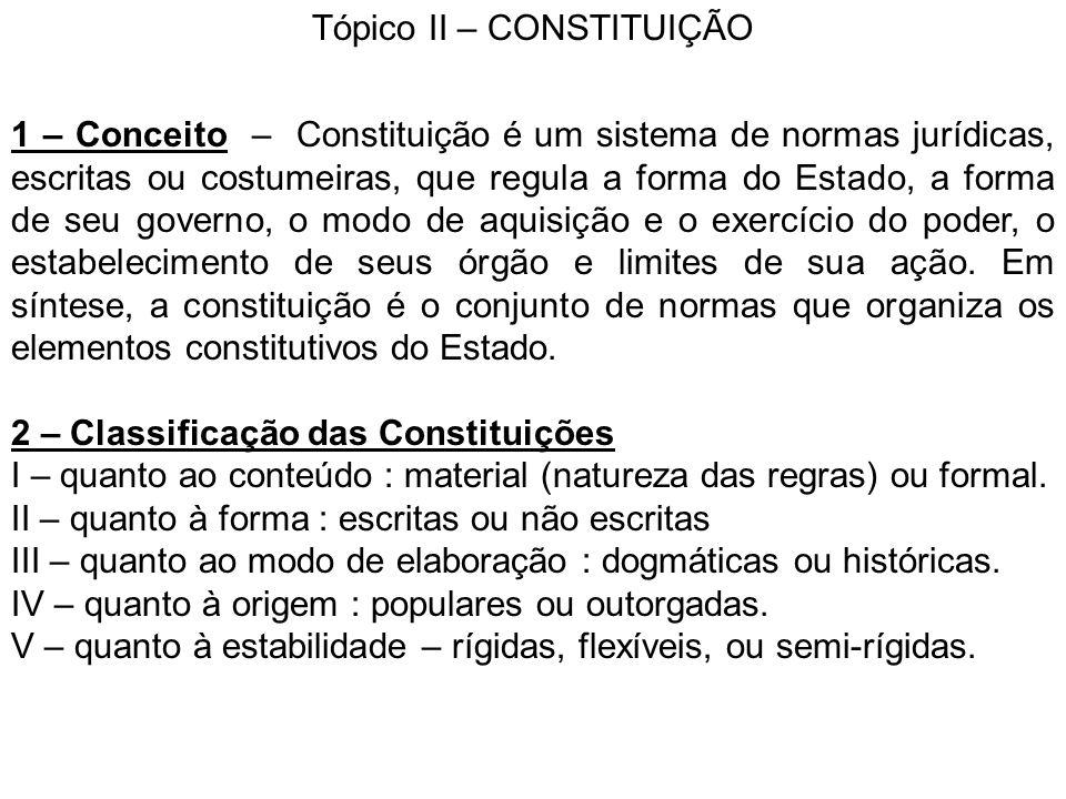 Tópico II – CONSTITUIÇÃO 1 – Conceito – Constituição é um sistema de normas jurídicas, escritas ou costumeiras, que regula a forma do Estado, a forma