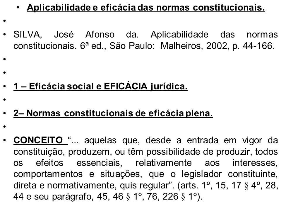 Aplicabilidade e eficácia das normas constitucionais. SILVA, José Afonso da. Aplicabilidade das normas constitucionais. 6ª ed., São Paulo: Malheiros,