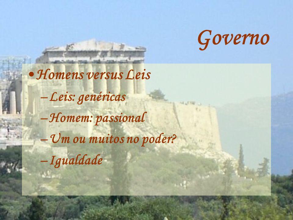 Governo Politeía (República) –Melhor forma de Governo –Mescla de virtudes –Liberdade, Riqueza e Virtude –Aristocracia: Regime Perfeito