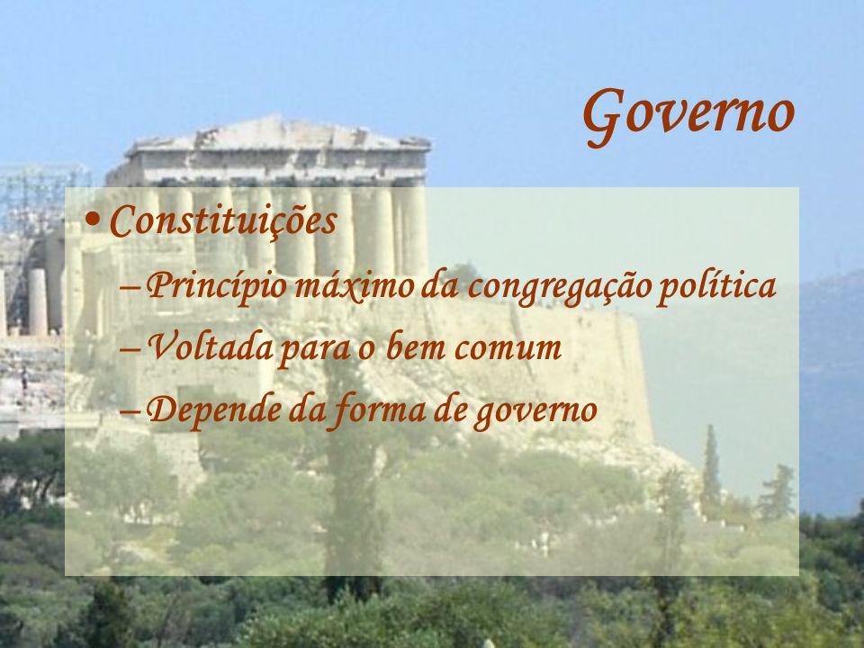 Governo Formas de Governo Formas retas Monarquia Aristocracia Politeía (República) Formas desviadas Tirania Oligarquia Democracia